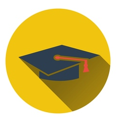 Flat design icon of graduation cap in ui colors vector