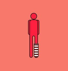 Flat icon design collection man with broken leg vector