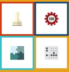 flat icon entertainment set of jigsaw gomoku vector image