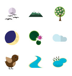Flat icon nature set of half moon bird tributary vector
