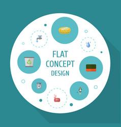 flat icons foam aqua sponge and other vector image