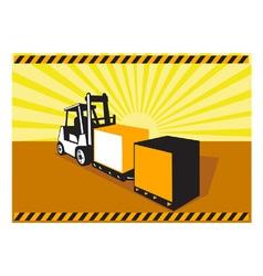 Forklift Truck Materials Handling Retro vector