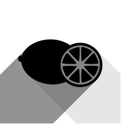 fruits lemon sign black icon with two vector image