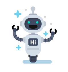 Funny robot in flat vector