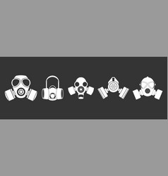 gas mask icon set grey vector image