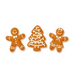 gingerbreade man woman and christmas tree vector image