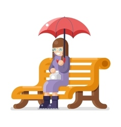 Girl sit bench umbrella autumn flat design vector