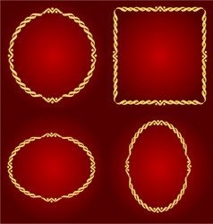 Gold frames Circle oval and square vector image vector image