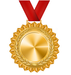 Gold medal with a red ribbon laurel wreath vector