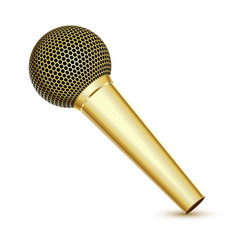 Golden microphone vector