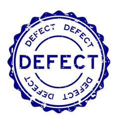 Grunge blue defect word round rubber seal stamp vector
