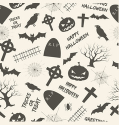 halloween monochrome seamless pattern vector image