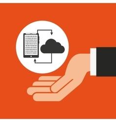 Hands businessman data smartphone cloud vector