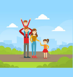happy family walking and having fun outdoors vector image