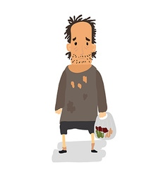 Homeless Shaggy man in dirty rags and with a bag vector