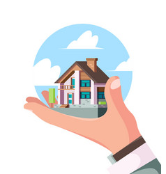 house on hand real estate person holding vector image