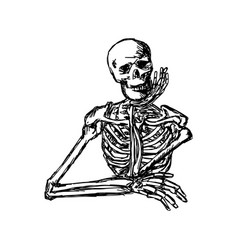 Human skeleton keeping hand on chin vector
