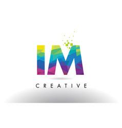 im i m colorful letter origami triangles design vector image