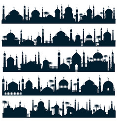 Islamic city skylines with mosque and minaret vector