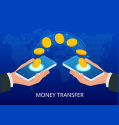 Isometric money transfer online money wallet and vector