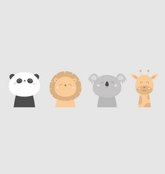 koala panda bear giraffe lion face head icon set vector image