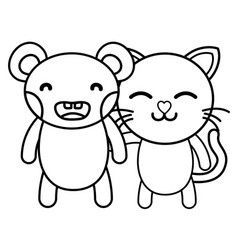 Line bear and cat cute animals friends vector