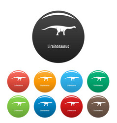 lirainosaurus icons set color vector image