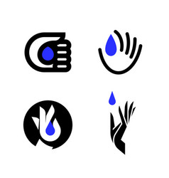 logo mark template or icon of blue drop in hand vector image