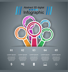 Loupe 3d digital infographic vector