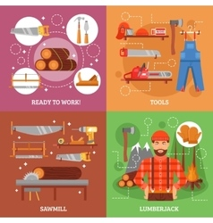 Lumberjack And Tools For Working Wood vector image