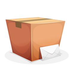 Mail delivery with cardboard and envelope vector