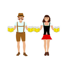 Man and women with beer vector