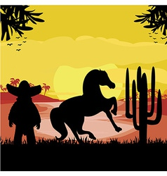 Man in a sombrero and his horse in desert sunset vector