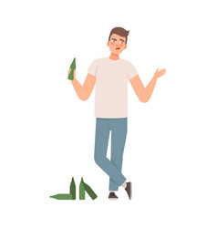 Man is standing with a bottle in his hand nearby vector