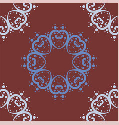 Mandala of heart shapes with dots seamless vector