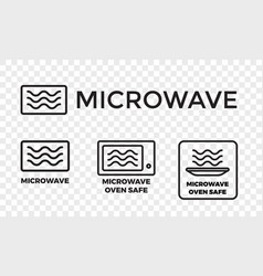 Microwave oven safe icon set vector