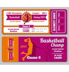Modern basketball ticket template vector image