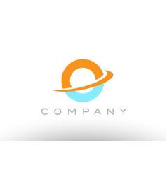 o orange blue logo icon alphabet design vector image