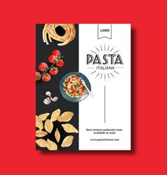 Pasta poster design with conchiglie tomato garlic vector