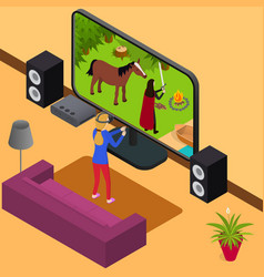 play video game and gamer girl 3d isometric view vector image
