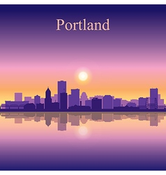 Portland city skyline silhouette background vector image