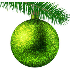realistic lime christmas ball or bauble with vector image
