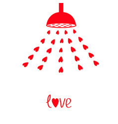 red shower bath douche with red hearts water vector image