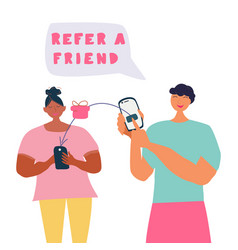 Refer a friend concept friend referring and vector