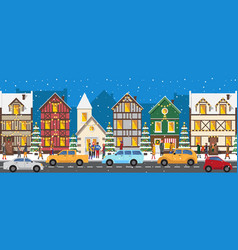 Row of houses decorated with luminous garlands vector