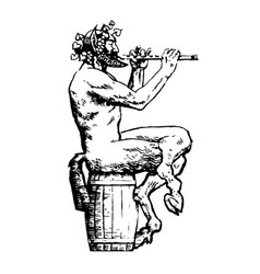 satyr sitting on wooden barrel and playing flute vector image