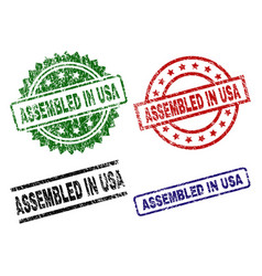 scratched textured assembled in usa stamp seals vector image