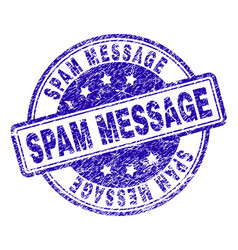 scratched textured spam message stamp seal vector image
