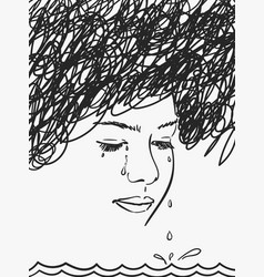 sea tears dripping from eyes depressed vector image