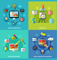 Seo square compositions set vector